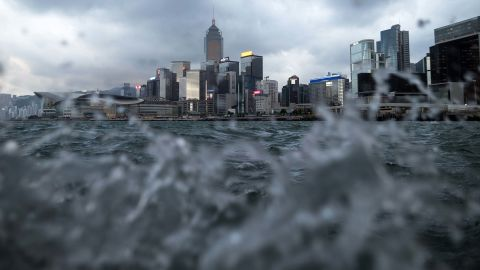 High-rises are visible above choppy waters in Hong Kong's Wan Chai District on Wednesday, September 12.