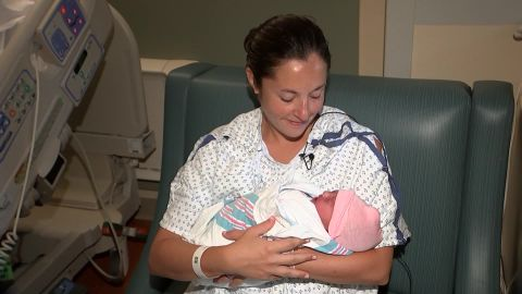 Rachel English gave birth to her baby after fleeing Hurricane Florence.