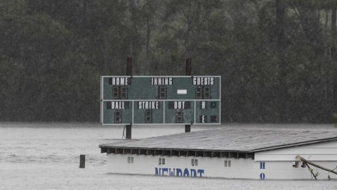 A baseball field on Mill Creek Road is filled with floodwater after Florence hit Newport, North Carolina, on Saturday.