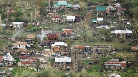 An aerial photo shows houses destroyed at the height of super Typhoon Mangkhut in Tuguegarao City, in Cagayan province, on September 16, 2018. - Super Typhoon Mangkhut slammed into the northern Philippines, with violent winds and torrential rains, as authorities warned millions in its path of potentially heavy destruction. (Photo by TED ALJIBE / AFP)        (Photo credit should read TED ALJIBE/AFP/Getty Images)