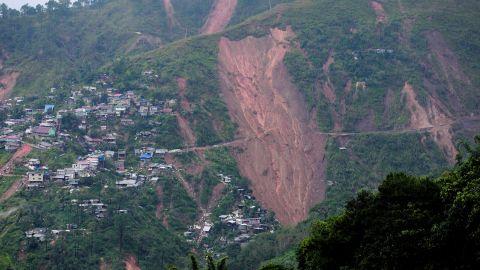 The landslide scarred this hillside.