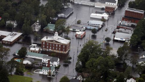 Floodwaters inundate parts of Trenton, North Carolina, on September 16.