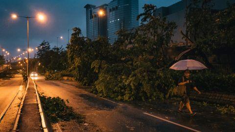 A man holds an umbrella as he walks past fallen trees in Hong Kong on Sunday, September 16.