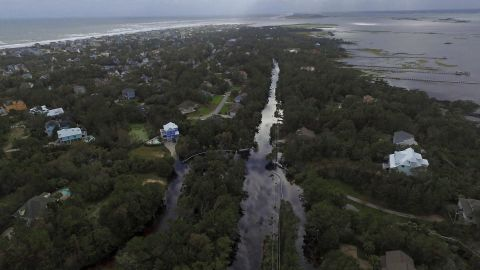 Floodwaters are seen on North Carolina's Emerald Isle on Sunday, September 16.
