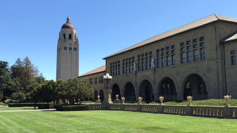 A view of Hoover Tower and the main quad at Stanford University in Palo Alto, California.