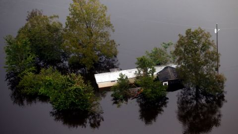 Floodwaters surround a trailer in Pollocksville, North Carolina, on September 17.