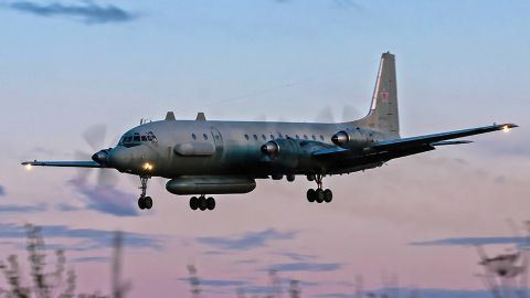 A Russian IL-20 plane landing at an unknown location