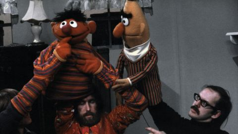 Daniel Seagren, Jim Henson and Frank Oz with Ernie and Bert in 1970.