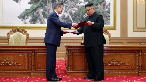 """""""The era of no war has started,"""" said Moon, the first South Korean president to visit Pyongyang since 2007. """"Today the North and South decided to remove all threats that can cause war from the entire Korean peninsula."""""""