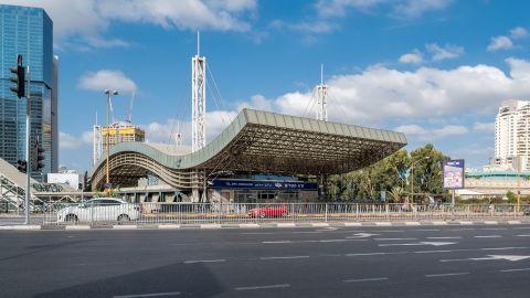 Tel Aviv Hashalom railway station is pictured on September 22, 2017.