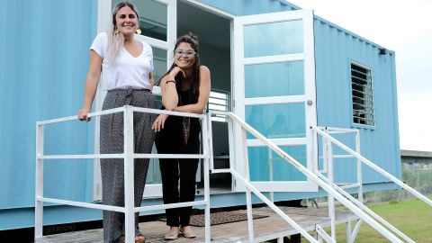 Maria Gabriela Velasco (L) and Carla Gautier (R), co-founders of housing startup HiveCube in Puerto Rico.