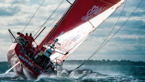 """Peter La Fontaine took this shot of a Volvo Ocean 65 passing through Port Phillip Bay Heads, Australia, while competing in the around-the-world yacht race. """"This photo reveals the immense power in these incredible racing yachts,"""" says La Fontaine."""