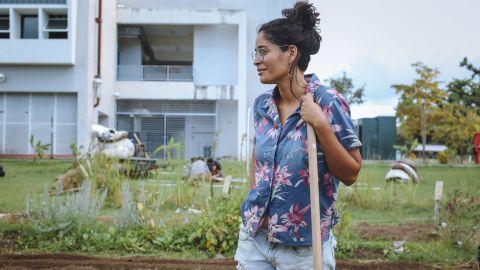 A community volunteer planting new crops at Huerto Semilla, an urban garden at the University of Puerto Rico.