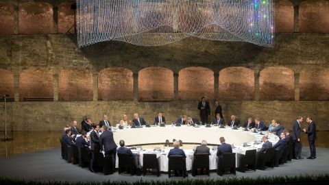 Participants of the EU Informal Summit of Heads of State or Government in Salzburg Austria attend a dinner at the Felsenreitschule on September 19, 2018. (Photo by GEORG HOCHMUTH / APA / AFP) / Austria OUT        (Photo credit should read GEORG HOCHMUTH/AFP/Getty Images)