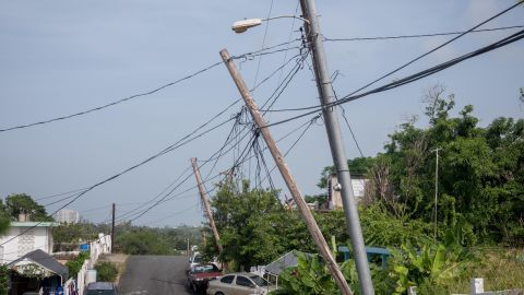 LUQUILLO, PUERTO RICO - SEPTEMBER 19: Light poles listing to the side since Hurricane Maria touched land, on September 19, 2018 in Luquillo, Puerto Rico. Remainders of the natural disaster are easily found all over the island. Hurricane Maria slammed into the island on September 20 resulting in the death of nearly 3,000 people in the months following the storm according to George Washington University's Milken Institute. US President Donald Trump has disputed those the death toll.  (Photo by Angel Valentin/Getty Images)