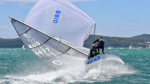 """Christophe Favreau took this shot at the Australian 505 nationals in Wangi Wangi. """"This picture is showing the joy of sailing at the edge,"""" he says. """"You're not sure if it is going to end with a crash or if the situation is going to be saved."""""""