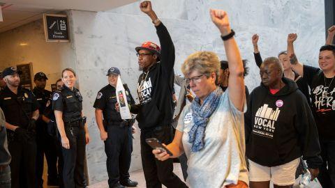 Protesters opposed to President Donald Trump's Supreme Court nominee, Brett Kavanaugh, demonstrate in the Hart Senate Office Building on Capitol Hill in Washington, Thursday, Sept. 20, 2018. (AP Photo/J. Scott Applewhite)