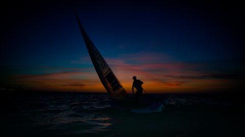 Polish photographer Szymon Sikora captured sailor Piotr Kula training before the Volvo Gydnia Sailing Days in Gdańsk.