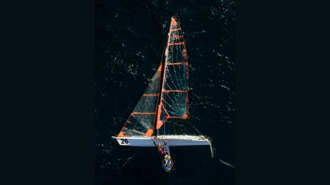 This quirky drone shot taken in Algarrobo, Spain by Benjamín Sans, shows two athletes on the center board after flipping their boat.