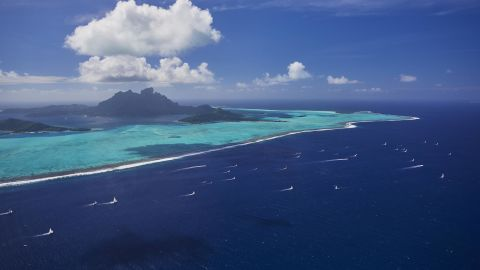"""Bertrand Duquenne took this long shot of the Tahiti Pearl Regatta in Bora-Bora from an airplane. """"When you see these kind of pictures from the window of your day office, you think you're lucky,"""" he says."""