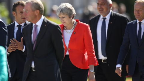 UK Prime Minister Theresa May, France's Emmanuel Macron, left, and other leaders at the summit.