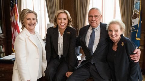 Former Secretaries of State Hillary Clinton, General Colin Powell and Madeleine Albright joined Téa Leoni on set at Madam Secretary.