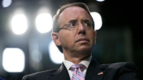 Rod Rosenstein, deputy attorney general, listens during a Senate Judiciary Committee confirmation hearing for Brett Kavanaugh, U.S. Supreme Court associate justice nominee for U.S. President Donald Trump, not pictured, in Washington, D.C., U.S., on Tuesday, Sept. 4, 2018. If confirmed, Kavanaugh would fortify the high court's conservative majority, and spotlight the rightward march of the federal judiciary under Trump and the GOP-controlled Senate. Photographer: Andrew Harrer/Bloomberg via Getty Images