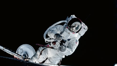 Apollo 9, Lunar Module Pilot Russell Schweickart taking a photograph during his Extravehicular Activity (EVA) testing the new spacesuit during the Apollo 9 mission. (AS09-19-2982