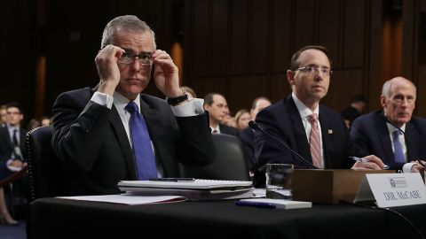 WASHINGTON, DC - JUNE 07:  (L-R) Acting FBI Director Andrew McCabe, Deputy Attorney General Rod Rosenstein, Director of National Intelligence Daniel Coats and National Security Agency Director Adm. Michael Rogers testify before the Senate Intelligence Committee in the Hart Senate Office Building on Capitol Hill  June 7, 2017 in Washington, DC. The intelligence and security officials testified about re-authorization of Section 702 of the Foreign Intelligence Surveillance Act, which is the law the NSA uses to track emails and phone calls of non-US citizens.  (Photo by Chip Somodevilla/Getty Images)