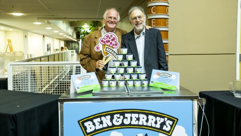 Garden City, N.Y.: Ben Cohen and Jerry Greenfield, co-founders of the Ben & Jerry's ice cream company at Performing Arts Center, Westermann Stage, Concert Hall at Adelphi University, in Garden City, New York on September 12, 2018. (Photo by Marisol Diaz-Gordon/Newsday via Getty Images)