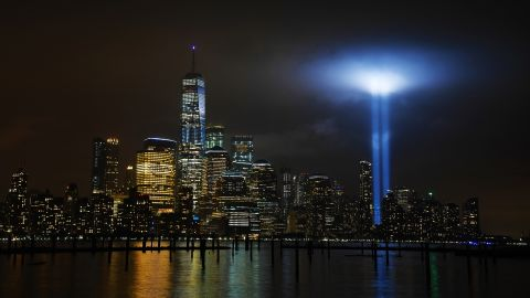 """<strong>New York City: </strong>The """"Tribute in Light"""" is an art installation lit annually in New York on September 11. Searchlights are used to create two vertical columns of light representing the Twin Towers."""