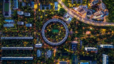 <strong>Moscow:</strong> This aerial views shows the unusually shaped building at 13 Nezhinskaya Street, a circular house in Moscow's Ochakovo-Matveyevskoye District.