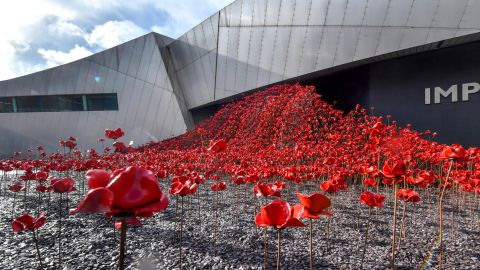 """<strong>Manchester, England: </strong>""""Waves,"""" part of Paul Cummins and Tom Piper's art installation """"Poppies: Blood Swept Lands and Seas of Red,"""" went on display in Manchester's Imperial War Museum North in September. <br />"""