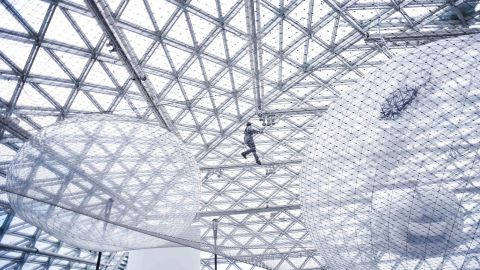 """<strong>Düsseldorf, Germany:</strong> Tomás Saraceno's art installation """"in orbit"""" is on permanent display at the K21 Standehaus art museum. <br />"""