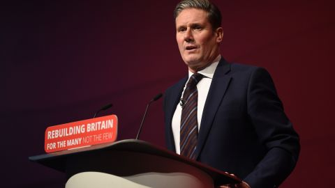 Britain's opposition Labour party Brexit secretary Keir Starmer addresses delegates on the third day of the Labour party conference in Liverpool, north west England on September 25, 2018. (Photo by Oli SCARFF / AFP)        (Photo credit should read OLI SCARFF/AFP/Getty Images)