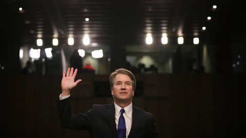 WASHINGTON, DC - SEPTEMBER 04:  Supreme Court nominee Judge Brett Kavanaugh is sworn in before the Senate Judiciary Committee during his Supreme Court confirmation hearing in the Hart Senate Office Building on Capitol Hill September 4, 2018 in Washington, DC. Kavanaugh was nominated by President Donald Trump to fill the vacancy on the court left by retiring Associate Justice Anthony Kennedy.