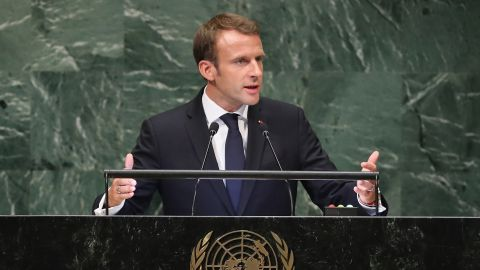 President of France Emmanuel Macron addresses the United Nations General Assembly on September 25, 2018 in New York City.