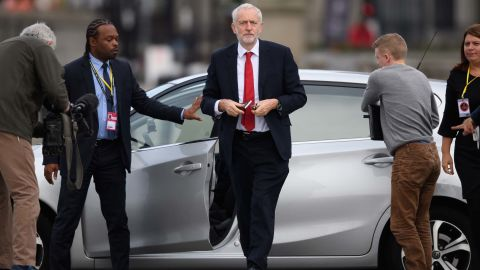 Labour leader Jeremy Corbyn in Liverpool during the first day of his party's annual conference.