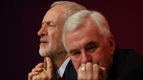 Jeremy Corbyn (L) sits with Shadow Chancellor John McDonnell following McDonnell's speech at the Labour party conference on Monday.