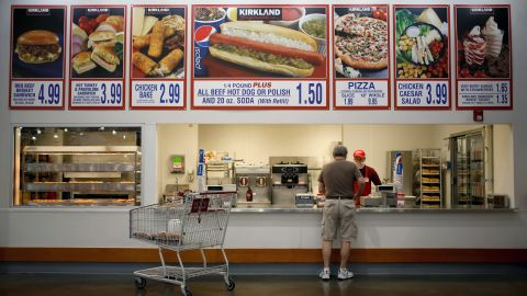Costco's food courts offer a limited selection of top-selling items, such as hot dogs, pizza and rotiserrie chicken.