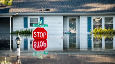 A home in Conway, South Carolina, is inundated by floodwaters on Wednesday, September 26, one week after Hurricane Florence.