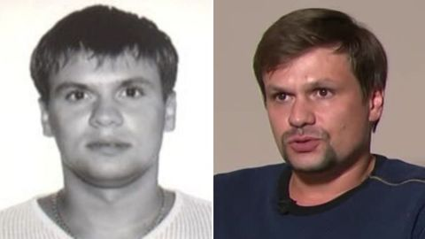 """As part of their report, Bellingcat released an image of a man they claim to be Col. Anatoliy Chepiga (L). They allege this is one of the same men who appeared in an interview on RT two weeks ago (R), named by British authorities as Novichok suspect """"Ruslan Boshirov,"""" which is believed to be an alias."""