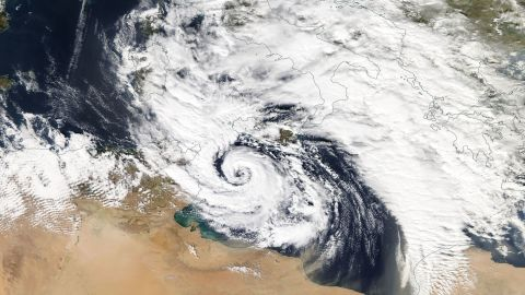 A hurricane-like storm in the Mediterranean Sea, known as a 'Medicane,' spins near the island of Sicily on November 7th, 2014.