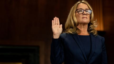 Christine Blasey Ford swears in at a Senate Judiciary Committee hearing for her to testify about sexual assault allegations against Supreme Court nominee Judge Brett M. Kavanaugh on Capitol Hill in Washington, U.S., September 27, 2018. Erin Schaff/Pool via REUTERS