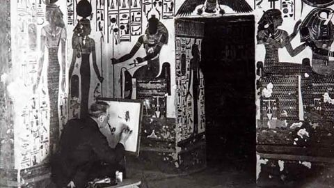 A member of Ernesto Schiaparelli's team at the tomb of Queen Nefertari in the Valley of the Queens.
