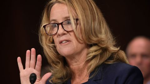 Christine Blasey Ford, the woman accusing Supreme Court nominee Brett Kavanaugh of sexually assaulting her at a party 36 years ago, testifies before the US Senate Judiciary Committee on Capitol Hill in Washington, DC, September 27, 2018. (Photo by SAUL LOEB / POOL / AFP)        (Photo credit should read SAUL LOEB/AFP/Getty Images)