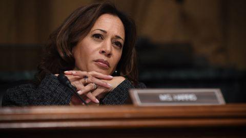 Sen. Kamala Harris listens as Christine Blasey Ford testifies before the US Senate Judiciary Committee in the Dirksen Senate Office Building on Capitol Hill September 27, 2018 in Washington, DC.