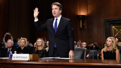 Supreme Court nominee Judge Brett Kavanaugh arrives to testify before the US Senate Judiciary Committee on Capitol Hill in Washington, DC, September 27, 2018. - Kavanaugh was to testify in front of the panel next on Thursday afternoon, having stridently rejected the allegations of sexual abuse by Blasey Ford and two other women in prepared remarks. (Photo by SAUL LOEB / POOL / AFP)        (Photo credit should read SAUL LOEB/AFP/Getty Images)