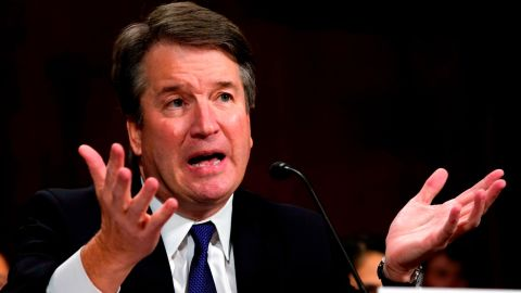 """Supreme court nominee Brett Kavanaugh testifies before the Senate Judiciary Committee on Capitol Hill in Washington, DC on September 27, 2018. - University professor Christine Blasey Ford, 51, told a tense Senate Judiciary Committee hearing that could make or break Kavanaugh's nomination she was """"100 percent"""" certain he was the assailant and it was """"absolutely not"""" a case of mistaken identify. (Photo by Andrew Harnik / POOL / AFP)        (Photo credit should read ANDREW HARNIK/AFP/Getty Images)"""