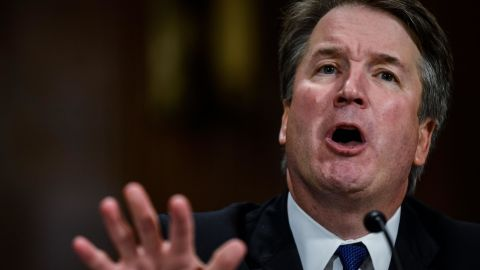 """Supreme court nominee Brett Kavanaugh testifies before the Senate Judiciary Committee on Capitol Hill in Washington, DC on September 27, 2018. - University professor Christine Blasey Ford, 51, told a tense Senate Judiciary Committee hearing that could make or break Kavanaugh's nomination she was """"100 percent"""" certain he was the assailant and it was """"absolutely not"""" a case of mistaken identify. (Photo by Gabriella Demczuk / POOL / AFP)        (Photo credit should read GABRIELLA DEMCZUK/AFP/Getty Images)"""